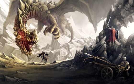 дракон, гора, ghion, quentin, fantasy