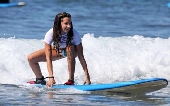 сёрфинг, девушка, вода