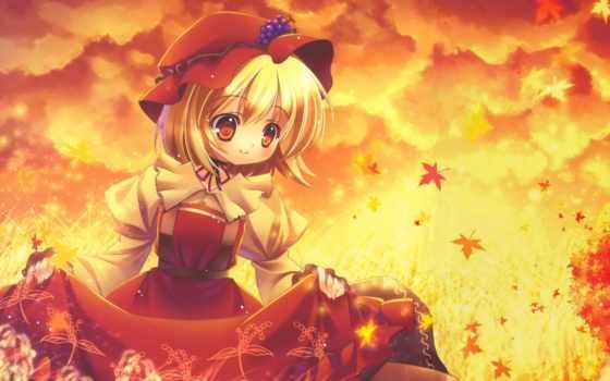 девушка, осень, поле