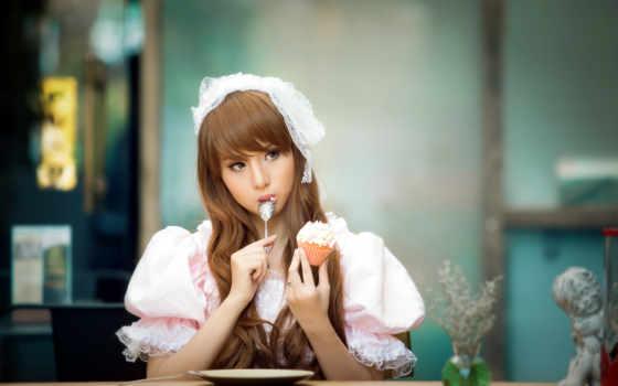 девушка, asian, eating, торт, платье, lovely, girls,