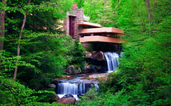 лес, водопад, architecture, trees, уровни, весна, страны, fallingwater,