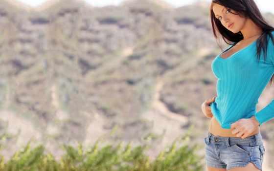 девушка, джинсы, short, рубашка, hot, blue, вмф, wears,