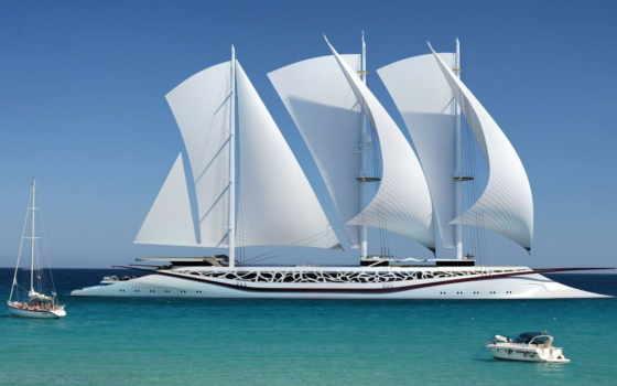 судно, парусное, яхта, more, ультрасовременным, парусным, вооружением, трирему, шикарное, свой, совершенно, вдруг, обросшую,