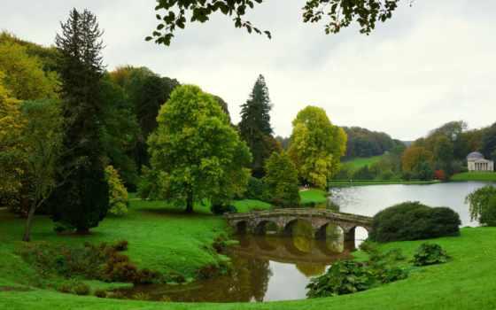 stourhead, мост, trees, landscape, озеро, цветы, река, ук, нояб,