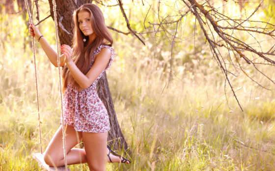 платье, ножки, качели, близко, дерево, девушка, фотосессия, взгляд, природа,