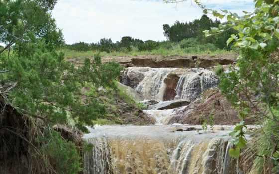 trees, водопад, природа, скалы, landscape, пейзажи -, getbg,