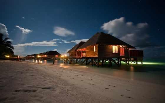 пляж, ночь, you, widescreen, landscape, pictures, рисунок,