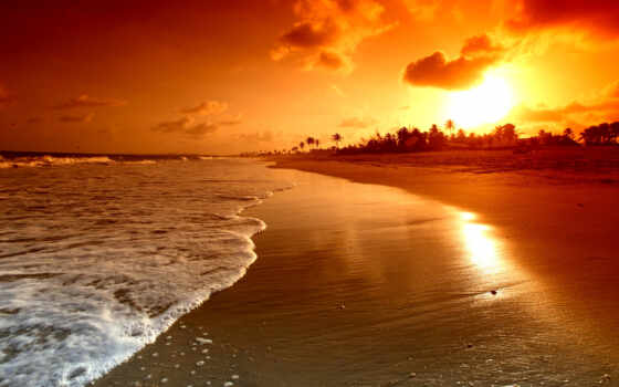 закат, пляж, море, природа, побережье, картинка, sun