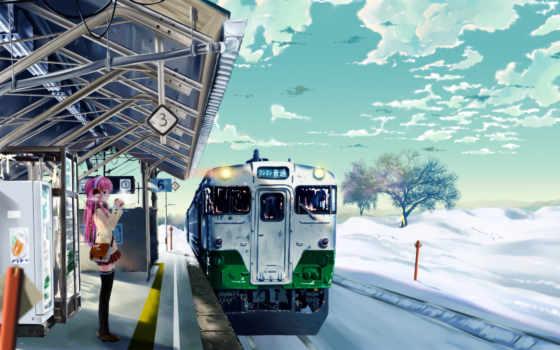 anime, поезд, поезда