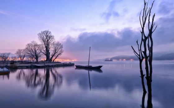 озеро, утро, отражение