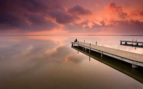 pier, море, закат, long, фотообои, ocean, небо, девушка, малыш, стену, краю,
