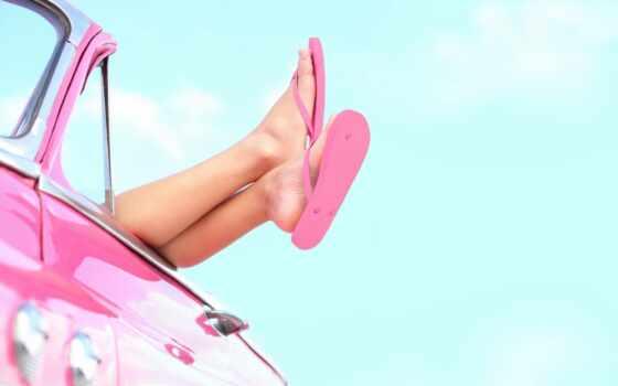 ноги, ребенок, car, шлепки, summer, oblaka, февр, кеды, трава, небо, розовый,