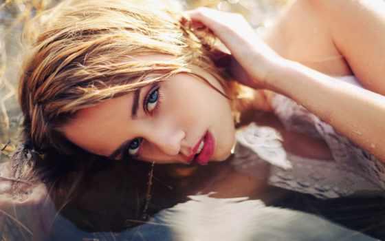 девушка, лежит, воде, фоновые, голубоглазая, blonde, рисунки, заставки, серебристыми, волосами, devushki,
