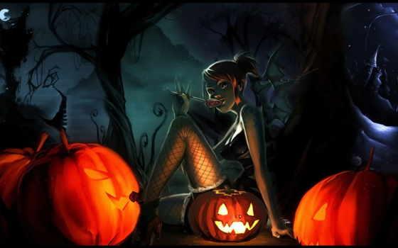 halloween, ночью, witch, луна, anime,