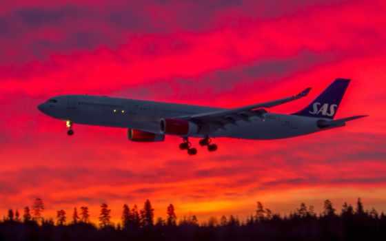oblaka, самолёт, небо, лайнер, sun, plane, clouds, закат, desktop,