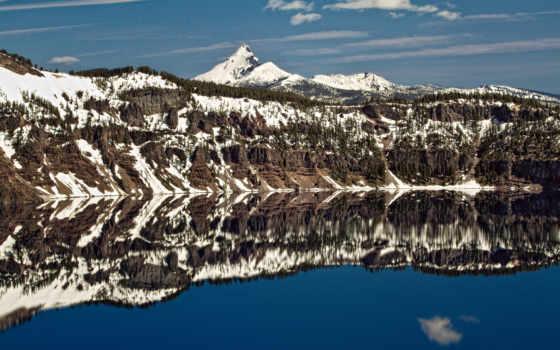 озеро, отражение, crater, природа, mountains, берег, небо, photos,