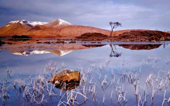 озеро, гора, трава, hill, осень, winter, небо