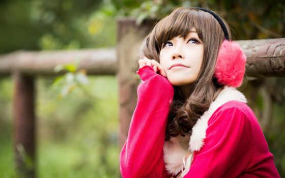 девушка, asian, женщина, cute, red, платье, смотреть, white, кофта, наушники
