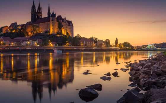 albrechtsburg, castle, die, bildrechte, река, германия, ночь, огни