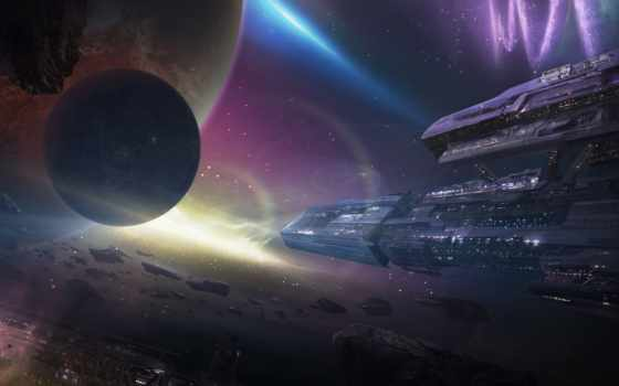 космос, корабли, станция, арт, планеты, метеориты, туманность,