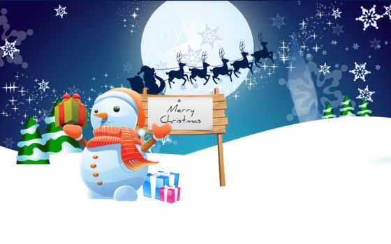 snowman, christmas, merry, desktop, mister,