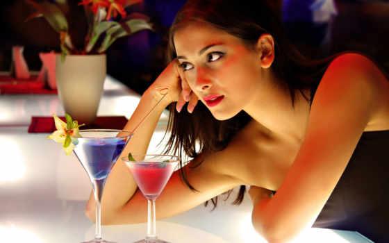 девушка, коктейли, внимание