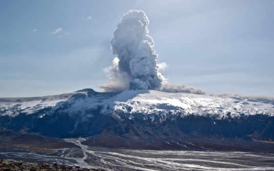 вулкан, лава, пепел, гора, дым, eyjafjallajökull, эйяфьядлайёкюдль,