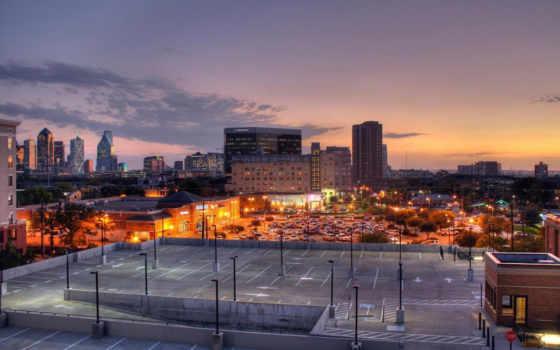 город, закат, разных