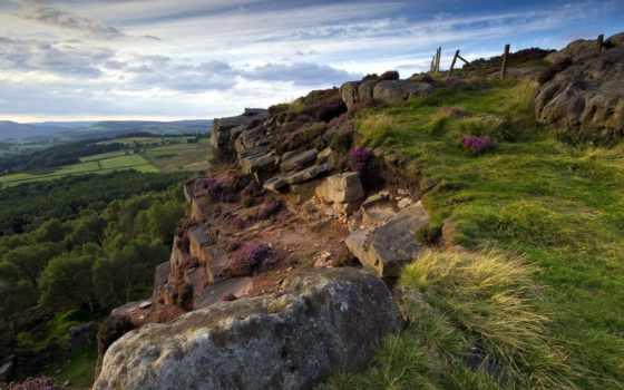 break, горы, взгляд, height, landscape, трава, небо, камни, плиты, ultra,