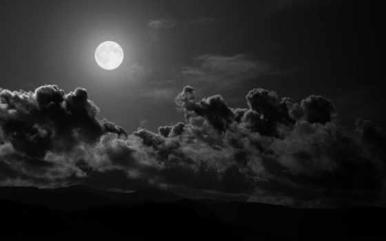 чёрно, белые, белое, landscape, небо,