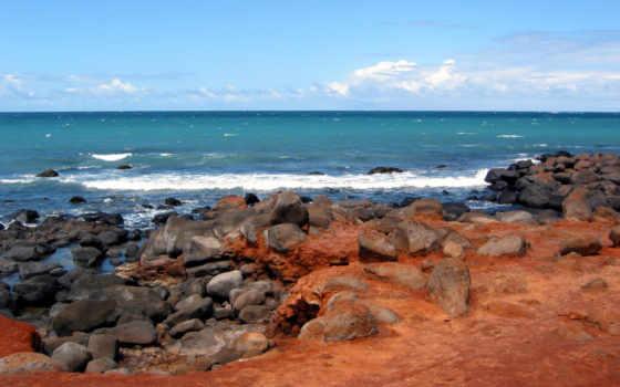 playa, hawaii, море, берег, острова, картинка, камни, сверху, остров, природа, rocosa,