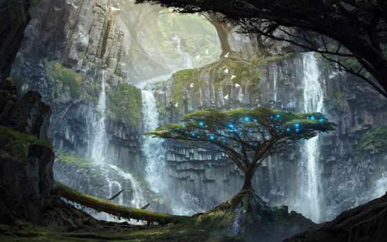 art, fantasy, картинка, trees, скалы, огни, красивые, озера, озеро, водопады,