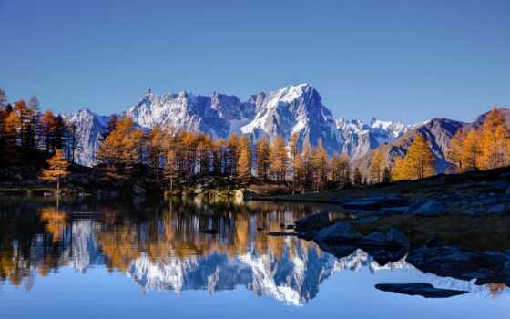 гора, осень, prank, дерево, mont, blanc, landscape, природа, озеро