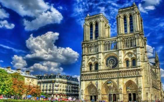 paris, notre, dame, небо, собор, площадь,