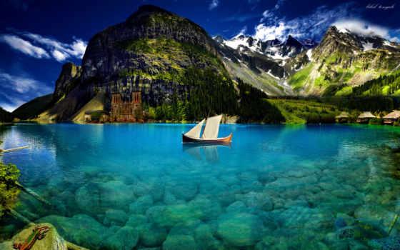лодка, горы
