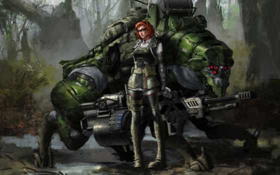 фэнтези, воители, robot, доспехи, техника, игры, devushki, размере, истинном, чтобы, посмотрет, обою,