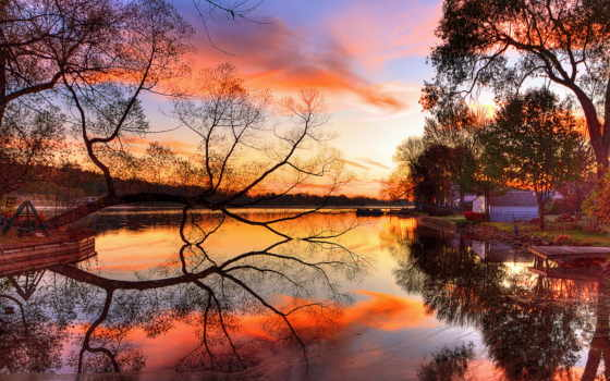 закат, природа, осень, река, мост, дерево, landscape, люди,