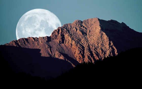 горы, пейзажи -, тени, картинка, небо, полнолуние, диск, pin,