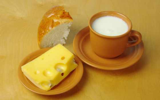 сыр, milk, столик, desktop, хлеб, saucers,