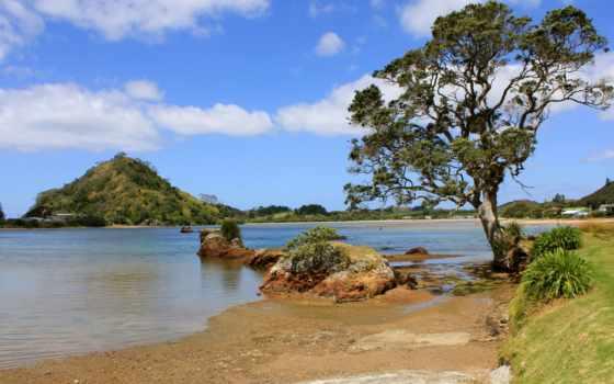 река, summer, дерево, природа, камни, oblaka, озеро, холмы, песок, широкоформатные,