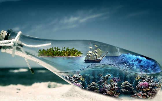 море, красивый, бутылка, ark, underwater, категория, starve, корабль