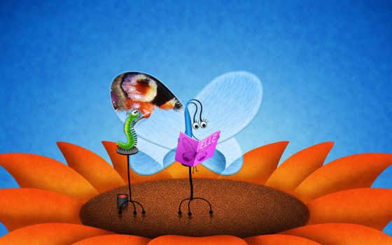 гусеница, цветок