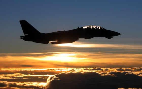 самолёт, полет, fighter, tomcat, закат, небо, облака,