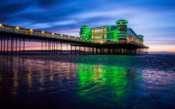 pier, море, закат