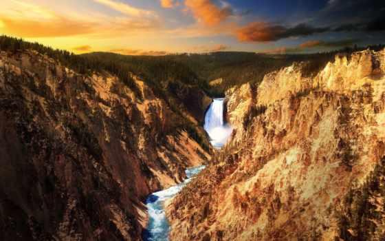 водопад, yellowstone, falls, park, река, лес, высоком, горы, красивые, national,