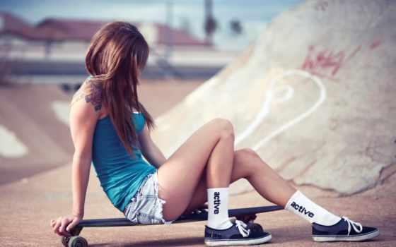 девушка, кедах, скейте, кеды, модель, трусы, skateboard, шортах, devushki, красивые,
