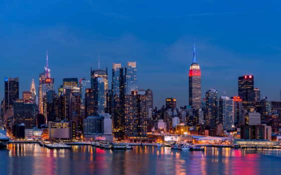 нью, york, небоскребы, йорка, дома, скинали, город, города, ночь,