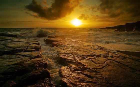 море, мэри, камни, картинка, desktop, волна, закат,