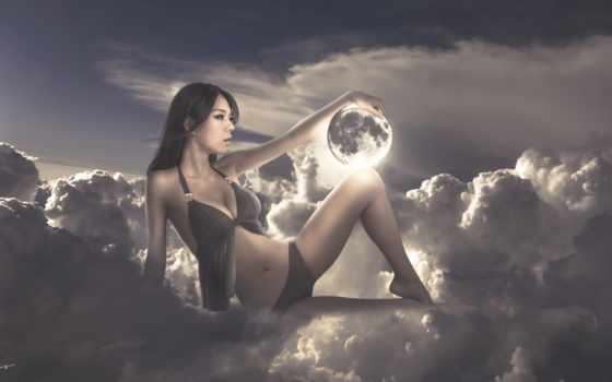девушка, креатив, online, puzzle, луна, fantasy, devushki, рисунок, небо, спа,