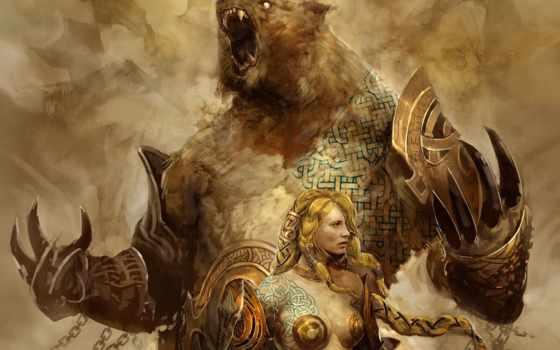 медведь, fantasy, иллюстрации, медведя, стиле, существо, сердцем, храбрая, доспехах, боевое, коллекции,